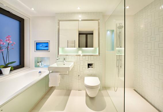 Mẫu phòng tắm màu trắng đẹp diện tích nhỏ nhưng không nhỏ