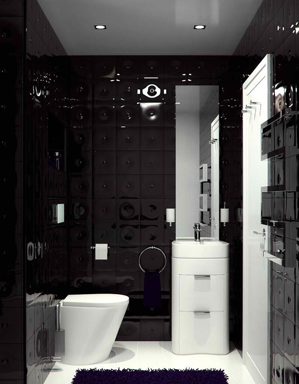 Mẫu phòng tắm màu đen đẹp đơn giản kết hợp với trắng