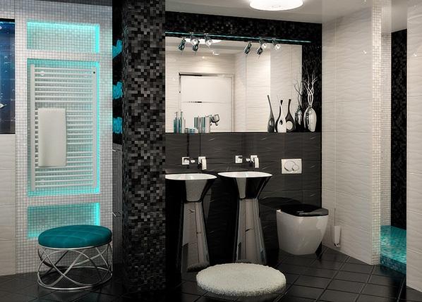 Một mẫu phòng tắm màu đen kết hợp với trắng khác