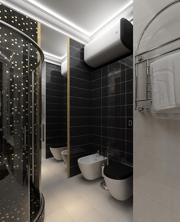 Một mẫu phòng tắm đen và trắng đẹp cho Quý Khách hàng
